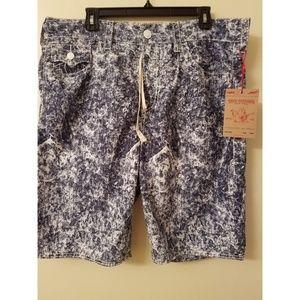 True Religion Board Big T Blue Acid Wash Shorts